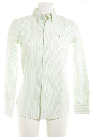Ralph Lauren Langarmhemd wollweiß-mint Streifenmuster Brit-Look