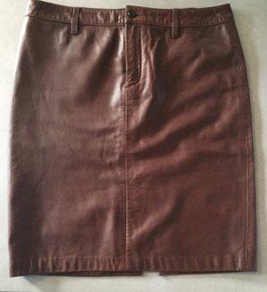 Ralph Lauren Falda de cuero marrón oscuro-marrón