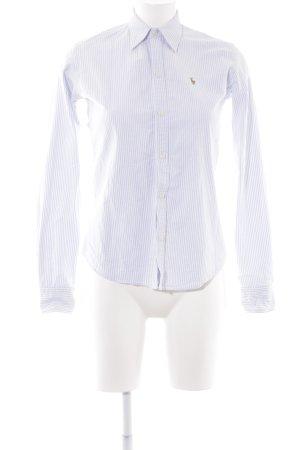 Ralph Lauren Linnen blouse lichtblauw-wit gestreept patroon zakelijke stijl