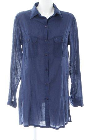 Ralph Lauren Long-Bluse blau Schriftzug gestickt Casual-Look