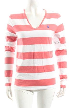 Ralph Lauren Longsleeve weiß-rosa Streifenmuster Casual-Look