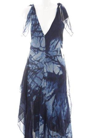 Ralph Lauren Midikleid dunkelblau-kornblumenblau abstraktes Muster Beach-Look