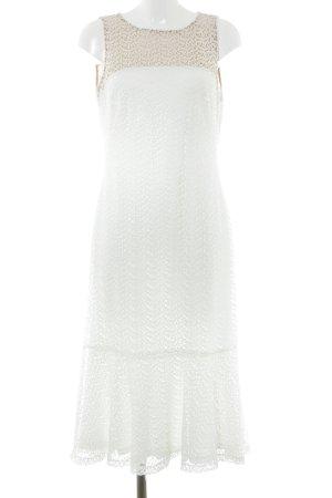 Ralph Lauren Midikleid weiß-beige florales Muster Elegant