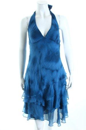 Ralph Lauren Neckholderkleid dunkelblau-stahlblau Batikmuster klassischer Stil