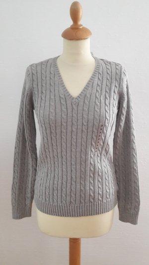Ralph Lauren NEU Zopfmuster Pullover grau Pulli V Ausschnitt Baumwolle