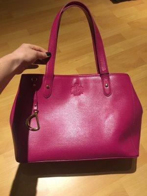 Ralph Lauren pink Tasche Shopper Gold Staubbeutel Leder Etikett