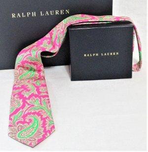 "Ralph Lauren ""Polo by Ralph Lauren"" Kravatte/Paisley-Musterung/Rosé/Grün/Bunt/100%Seide/Unisex/NEU mit Etikett!!"