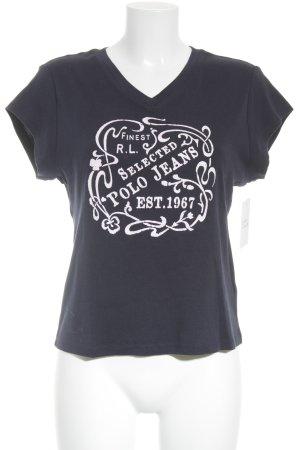 Ralph Lauren T-Shirt dunkelblau-hellrosa Schriftzug gedruckt Glitzer-Optik