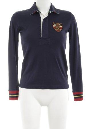 Ralph Lauren Polo-Shirt blau-rot Schriftzug gestickt Casual-Look