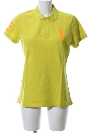 Ralph Lauren Polo-Shirt grün-hellorange Schriftzug gestickt Casual-Look