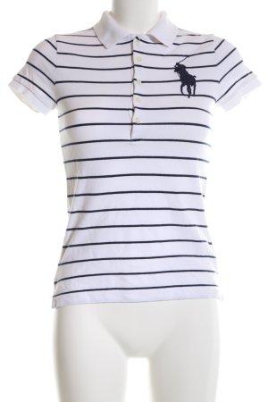 Ralph Lauren Polo-Shirt weiß-schwarz Streifenmuster Casual-Look