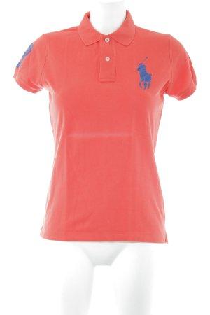 Ralph Lauren Polo-Shirt hellrot-dunkelblau sportlicher Stil