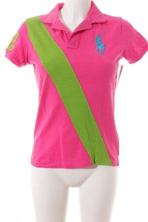 Ralph Lauren Polo-Shirt magenta-grün sportlicher Stil
