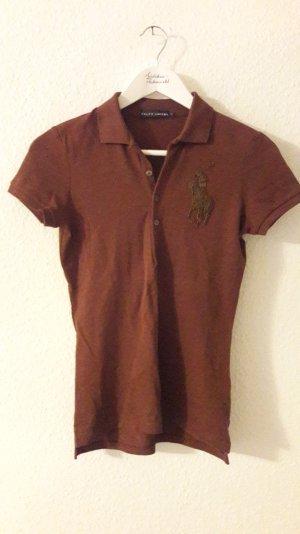 Ralph Lauren Polo Shirt Poloshirt Braun Perlen Logo Applikation Pferd S