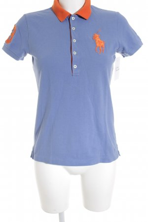 Ralph Lauren Polo-Shirt stahlblau-neonorange Casual-Look