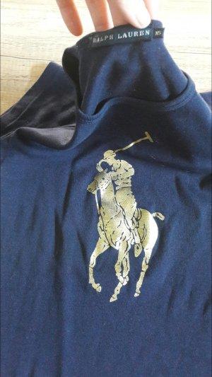 Ralph Lauren Polo Shirt T-Shirt Blau Marine Gold Big Pony XS
