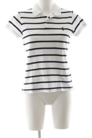 Ralph Lauren Polo-Shirt weiß-dunkelblau Streifenmuster sportlicher Stil