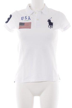 Ralph Lauren Polo-Shirt weiß Schriftzug gedruckt sportlicher Stil