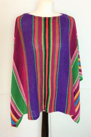 * RALPH LAUREN *  Poncho Cape Umhang LEINEN Baumwolle Regenbogen bunt Gr M S 38 36
