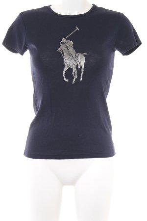 Ralph Lauren Print-Shirt dunkelblau-silberfarben platzierter Druck Casual-Look