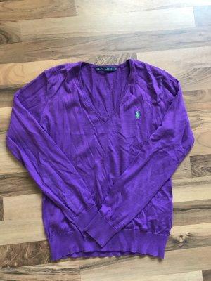 Lauren by Ralph Lauren Pull col en V lilas coton