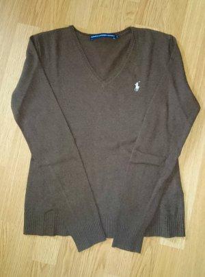 Ralph Lauren Pullover braun dunkelbraun V-Ausschnitt Gr. 36 / M