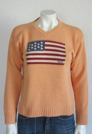 Ralph Lauren Pullover Gr. L apricot Flagge V-Ausschnitt