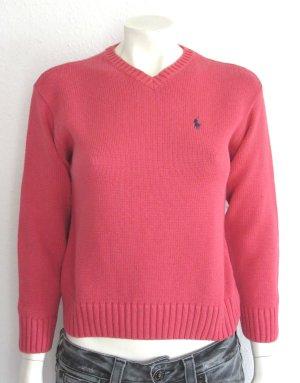 Ralph Lauren Pullover Gr. S V-Ausschnitt rosa/rot Logostickerei