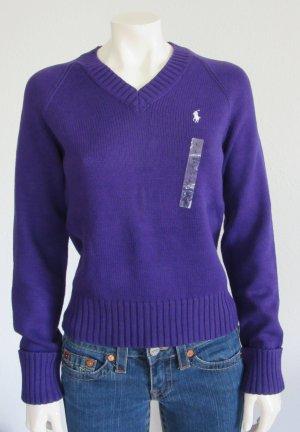 Ralph Lauren Pullover Größe L lila mit Logostickerei