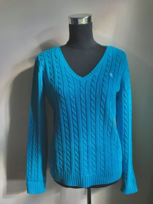 Lauren by Ralph Lauren Cable Sweater turquoise-neon blue cotton