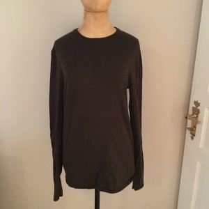 Ralph Lauren Pullover khaki mit Lederflicken Gr. S Merino