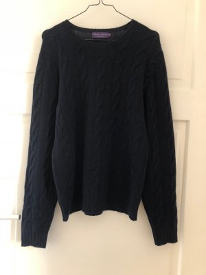 Ralph Lauren Purple Label Cashmere Pullover 100% Cashmere Kaschmir Dunkelblau Marineblau Knit Strick