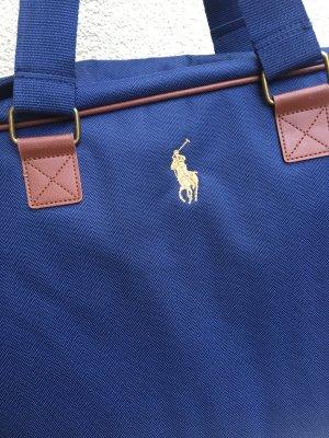 RALPH LAUREN Reisetasche, Sporttasche, Schultasche, Weekender, Travel Bag, Leder, braun, blau  **NEU**
