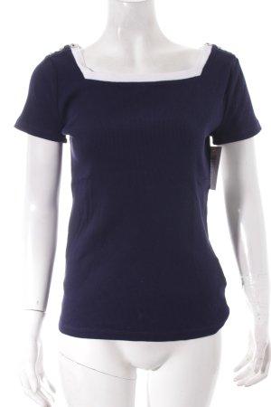 Ralph Lauren Rippshirt dunkelblau-weiß klassischer Stil