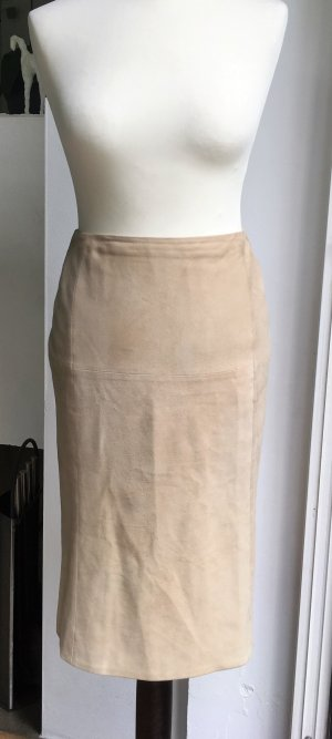 Lauren by Ralph Lauren Leather Skirt oatmeal-sand brown suede