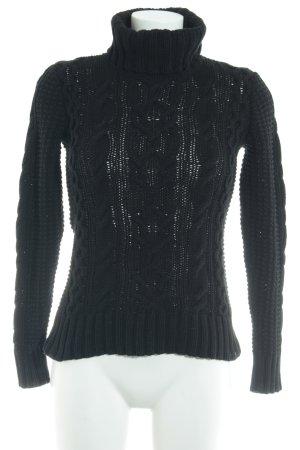 Ralph Lauren Rollkragenpullover schwarz Zopfmuster Casual-Look