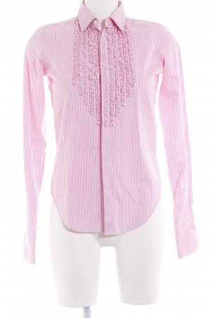 Ralph Lauren Ruffled Blouse white-pink striped pattern business style