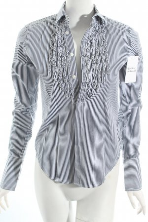 Ralph Lauren Ruche blouse wit-zwart gestreept patroon klassieke stijl