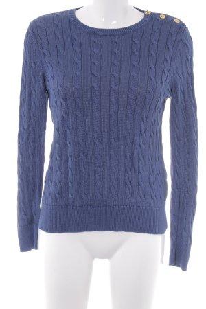 Ralph Lauren Rundhalspullover blau Zopfmuster schlichter Stil