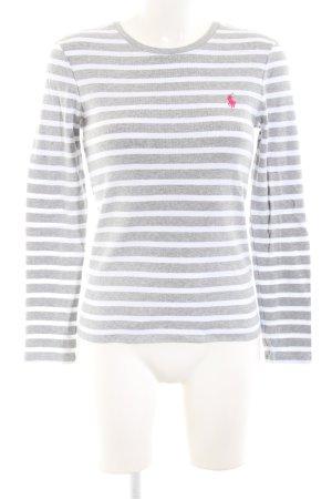 Ralph Lauren Rundhalspullover hellgrau-weiß Streifenmuster Casual-Look