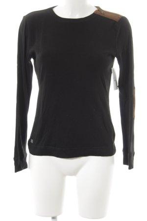 Ralph Lauren Rundhalspullover schwarz-camel klassischer Stil