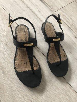 Ralph Lauren Toe-Post sandals black-gold-colored
