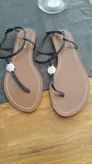 Lauren by Ralph Lauren High-Heeled Toe-Post Sandals black