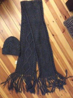 Ralph Lauren Schal und Mütze grau - sehr warm. Zopfmuster