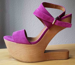 Ralph Lauren Platform High-Heeled Sandal multicolored suede