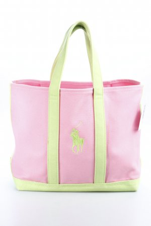 Ralph Lauren Shopper rosa-hellgrün Colourblocking Beach-Look
