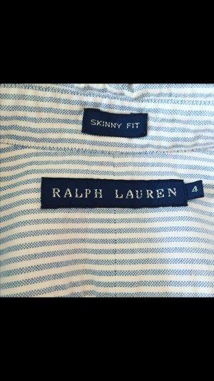 RALPH LAUREN Skinny Fit Bluse Hellblau