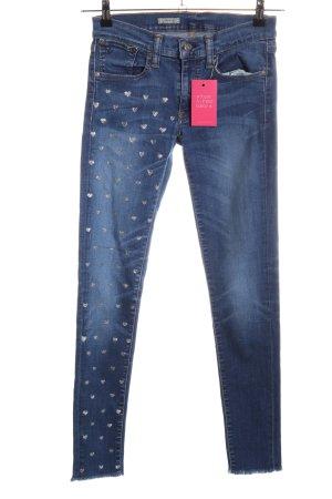 Ralph Lauren Skinny Jeans blau-goldfarben Allover-Druck Casual-Look