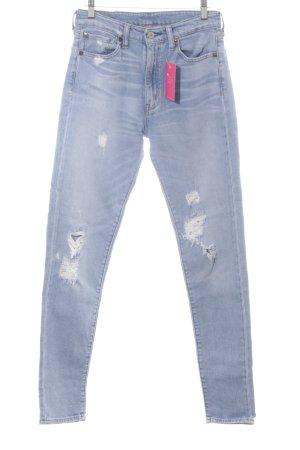 Ralph Lauren Skinny Jeans hellblau Used-Optik