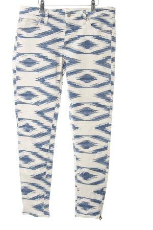 Ralph Lauren Skinny Jeans weiß-dunkelblau abstraktes Muster extravaganter Stil